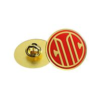Circular Antique Gold Custom Metal Pin Badges Injected Logos Designed Manufactures