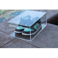 Clear Acrylic Shoe Box with printing Logo Manufactures