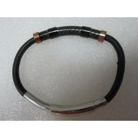 China Men's Stainless Steel Bracelet Black Rubber with Rose Gold Plating Bracelet on sale