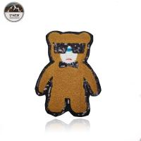 Cartoon Bear Custom Chenille Patches Brown For Kids Apparel Accessories Manufactures