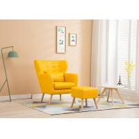 China Living Room Fabric Wooden Sofa Ming Yellow Colour With High Density Sponge on sale