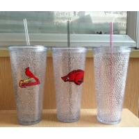 China HT-20 custom plastic straw drinks cup beer cup colors gel water PS material Cold beer cup on sale