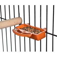 Quality plastic bird seed cup feeder with perch, for samll sized birds and parrot for sale