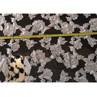 Fashion Chenille Embroidered Lace Fabric , Polyester Mesh Fabric For Dresses Manufactures