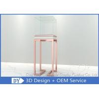 OEM Rose Gold Glass Jewelry Display Case Pedestal Display Furniture Manufactures