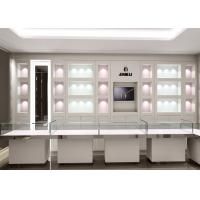 Matte White Color Jewellery Display Cabinets With LED Lighting Decoration Manufactures