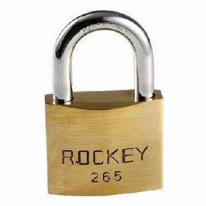 China Polished brass padlock, heavy-duty construction on sale