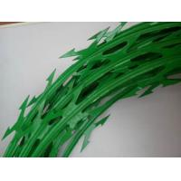 Custom Green Color Stainless Steel Barbed Wire , Razor Blade Barbed Wire Manufactures