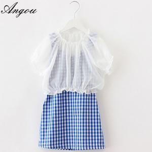 Angou Girl Dress Chiffon Children Summer Clothing Kids Dresses Princess dress two pieces Manufactures