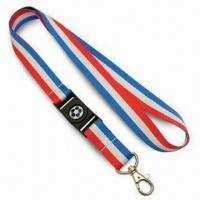 2cm-wide Flag Style Lanyards in 3-Tone Colors, Made of Polyester, with Nickel-plated Metal Snap Hook Manufactures