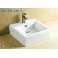 China Square Ceramic Counter Top Wash Basin 470×475×160 Mm With CE Certificate on sale