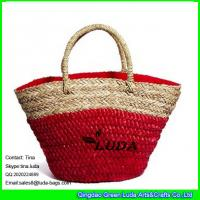 China LUDA red  monogrammed beach bags seagrass woven straw bags on sale