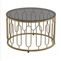 Round Stainless Steel Frame Tempered glass top End Table Coffee table Manufactures