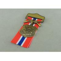 Zinc Alloy Military Awards Medals , 3D Die Casting Short Ribbon Medallions Manufactures