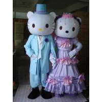 custom design fancy dress cartoon Hello-Kitty mascot couple costumes for adults