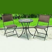 Mosaic Bistro Set with Rattan Folding Chair and 23.6 x 26.7-inch K/D Table