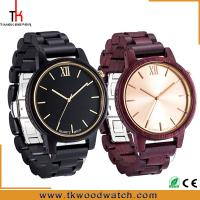 Quality Christmas Gift Red and Dark sandalwood Gold hand wood watch private label for sale