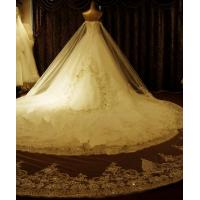 Sweetheart sleeveless Ladies Wedding Dresses , Diamond cathedral train wedding gowns Manufactures