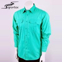 Custom Logos Casual Outdoor Clothing Chest Pocket Green Long Sleeve Shirts Manufactures