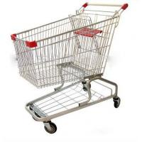 China Heavy Duty Supermarket Carts Wire Unfolding Shopping Baskets On Wheels on sale