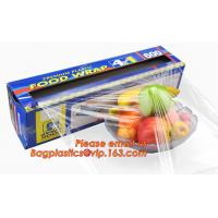 Extended plastic cling wrap pe pvc food film with customized logo, wholesale clear PE food grade kitchen Manufactures
