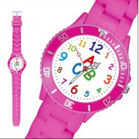 Eco - Friendly Pink Silicone Bracelet Watches For Little Girls With Chinese Movement Manufactures