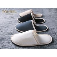 100% Cotton Embroidered Velvet Hotel Bathroom Slippers With Closed Toe SPA House Washable Manufactures