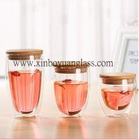 Double wall glass cup / coffee cup /glass cup with bamboo lid Manufactures
