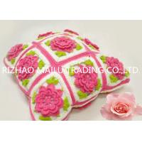 China Multi Squares Hand Crochet Cushion Cover , Red Flower With Lovely Green Leaves on sale
