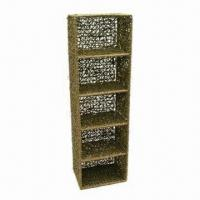 Oblong Noodle Seagrass CD/DVD Tower, Made of Metal Frame, Easily Coordinate to Room Style