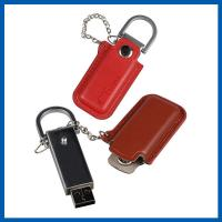 Red / Black Keychain Cell Phone Accessory Brown Leather 32GB USB Flash Drive Manufactures