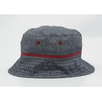 Grey Cotton Adult Fisherman Bucket Hat / Cap With Raised Embroidery Logo Manufactures