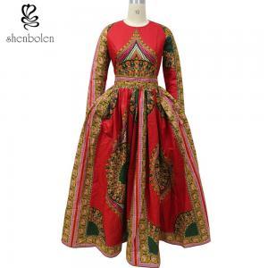 Quality African Dashiki Dress Bride Elegant O-Neck African Print Maxi Dress Special for sale