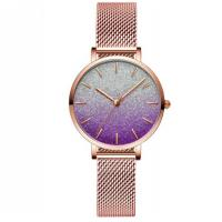 China Popular Luxury Gold Wrist Watch for women with Steel Strap Watch Waterproof Mesh Band simple analog watch on sale