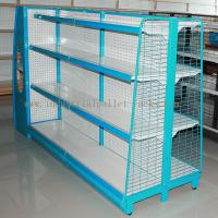 China Gondola Shelving Blue Light Duty Display Rack With Wire Mesh or Steel Board Side on sale
