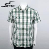 Grid Checkered Mens Casual Cotton Shirts , Outdoor Plaid Shirts Short Sleeve Style Manufactures
