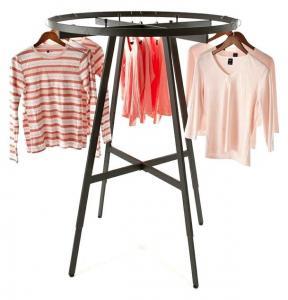 Collapsible Iron Garments Metal Clothing Display Rack Round Tube Powder Coating Manufactures