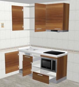Aluminium Profile Handle Standard Kitchen Cabinets 5mm MDF Board Backboard Manufactures