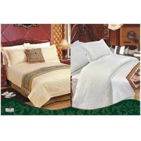 China Custom 100 % Cotton Full Size White Solid Color Dyed Hotel Bed Set on sale