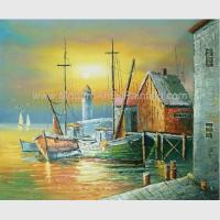 China Sailling Boats Oil Painting Harbor , Modern Sunset Landscape Painting on sale
