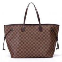 Genuine Leather Trimming Ebene Canvas Louis Vuitton Damier Never Full GM Brown for Women Manufactures