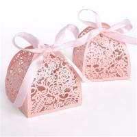 Wedding Small Candy Boxes , Pink Color Mini Paper Gift Box Offset Printing Manufactures