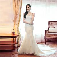 Girls sexy Mermaid Backless Sweetheart Lace Wedding Dress with chapel train Manufactures