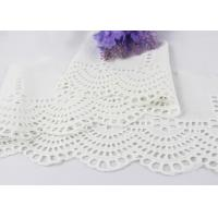 White Floral Scalloped Embroidered Lace Trim , Venice Eyelet Bridal Lace Ribbon Manufactures