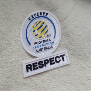 China Fashion Custom Clothing Patches Football Federation Washable Tatami Flocking Label For Garment on sale