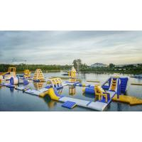 Huge Inflatable Floating Aqua Park Blue , Yellow And White Color EN15649 Standard Manufactures