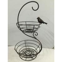 China metal wire two ties black round Fruit Basket with bird decoration on sale