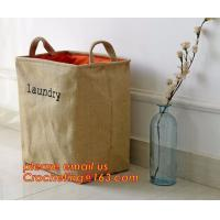China Wholesale Foldable waterproof jute dirty clothes basket/folding laundry basket for packing on sale