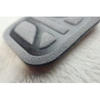 Gray Soft Environmentally Friendly Microfiber Label , Costom High Frequency Logo For Clothing Manufactures