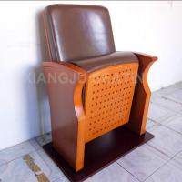 China Wooden Small Leather Lecture Hall Seating Folded Chairs For Conference Room on sale